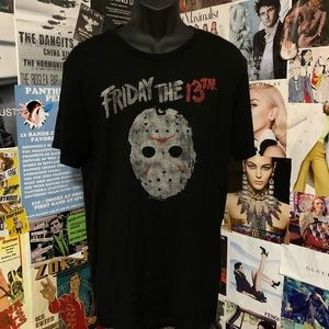 Friday the 13th Hockey Mask Mens Blk Tshirt Sz L